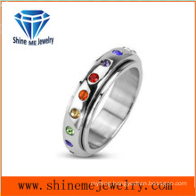 Jewelry Charm Fashion Stainless Steel Ring with Colorful Zircon