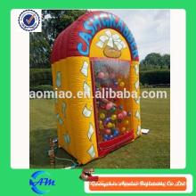 Máquina inflável do dinheiro do cubo de dinheiro da cabine do dinheiro para a venda