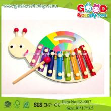 2015 Brinquedos de madeira novos para crianças musicais, caracol 8 brinquedos de madeira musical de xilofone, brinquedos musicais educacionais