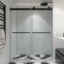 Seawin 2 panels rolling bathroom screen black hardware bypass Shower Doors