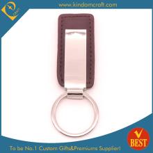 Qualitäts-kundenspezifischer Metall PU-lederner Schlüsselring mit Metallzusatz für Geschenk