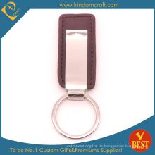 Großverkauf China Kundengebundener hoher Standardleder-Schlüsselkette mit Metallzusatz