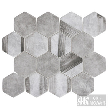 Mosaico de vidrio hexagonal gris para pared