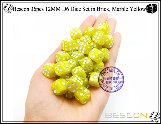 Bescon 36pcs 12MM D6 Dice Set in Brick, Marble Yellow-4