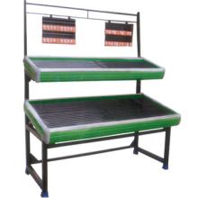 Caliente venta frutas de nivel dos rack soporte vegetal en niveles estante de frutas tier