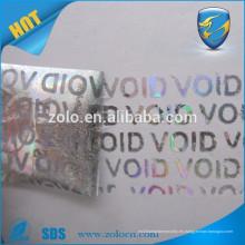 Etiqueta de seguridad de holograma de impresión personalizada nula