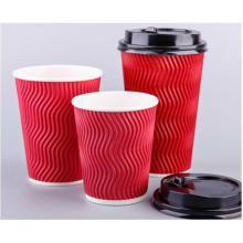 Disposable Hot Drinking Customized Logo Ripple Wall Paper Coffee Cup