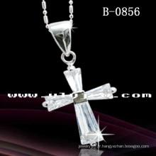 Collier pendentif croisé en rhodium (B-0856)