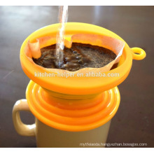 Professional Manufacturer LFGB Eco-friendly Heat Resistant Food Grade Silicone Coffee Strainer Cup/Coffee Filter Dripper/Funnel