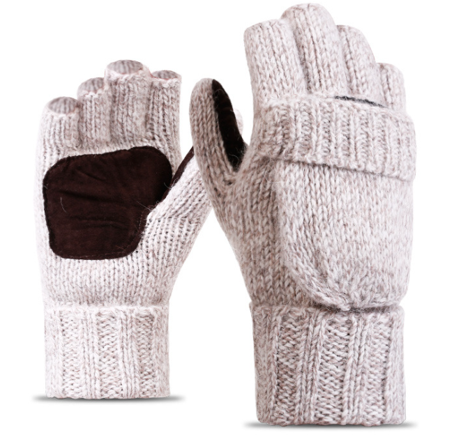 Leather Palm Acrylic Knitting Gloves