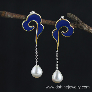 Customized Sterling Silver Drop Pearl Earrings For Women