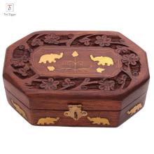 Boîte à bijoux en bois faite main avec organisateur de rangement pour bijoux avec design traditionnel