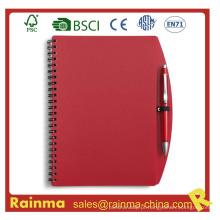 Caderno de capa de PVC vermelho para escola e material de escritório