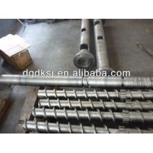 Barrel and screw for plastic extrusion machine