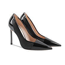 New product 2020 High Heel Womens Pumps Girl Ladies Shiny Patent Genuine Leather x19-c201Thin Heels Dress Shoes for Women