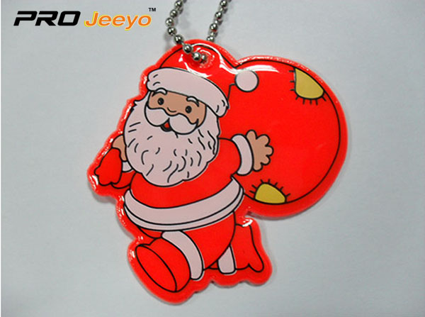Reflective Light Red Santa Claus With Gifts Bag Pendant Rv 213a 3