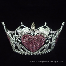 Factory price hot sale full round crystal hair tiaras with heart shape decoration
