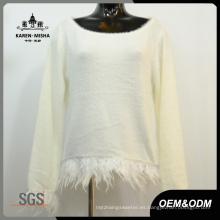 Suéter de manga larga de color puro para mujer