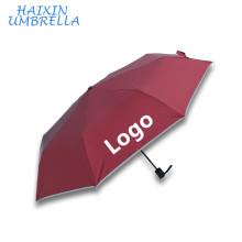 Прямая Цена Завода Новый Дизайн Безопасности Изготовленный На Заказ Логос Печатая Компактный Автоматический Зонт Ручка С Светоотражающие Полосы