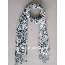 lady viscose floral printed ethnic scarf