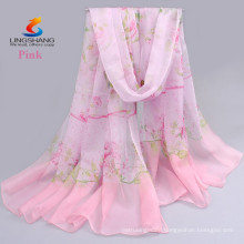 Lingshang CDX008 wholesale new fashion design style girl dress silk feel digital printing chiffon scarf