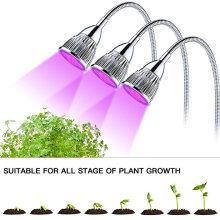 Planta LEVOU Crescer Luz de Três-Cabeças 15 W Clip Desk espectro completo Crescer Lâmpada com 360 Graus Gooseneck Flexível