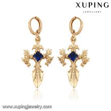 27927-Xuping Jewelry aretes cruzados de oro religion ladies