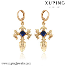 27927-Xuping Jewelry gold cross earrings religion ladies