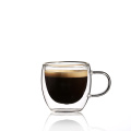 double layers 80ML heat resistant glass coffee cup 100% handmade exquisite cup