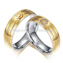Hot sale imitation diamond valentine rings, plating gold rings for lover