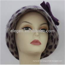 Señora nuevo diseño China fábrica Leopardo impreso lana mezclada con sombreros de acrílico con tapa