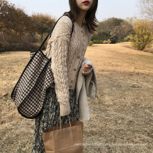 High Quality Low MOQ Ins Fashion Lady Woolen Cloth Tote Bags One-shoulder Bag for Girls