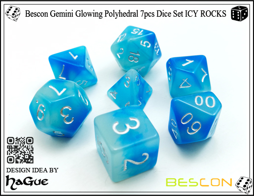 Bescon Gemini Glowing Polyhedral 7pcs Dice Set ICY ROCKS-New Version-3
