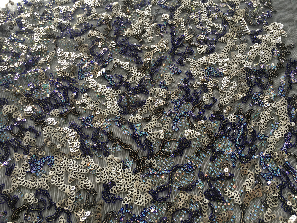 Navy Sequin Col Embroidery Fabric