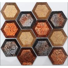 Goldfolie Cover Hexagon Glasmosaik