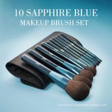 10Pcs Glitter Sapphire Blue Cosmetic Brush Kit Bag
