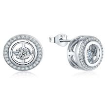 Micro Setting CZ 925 Silver Dancing Diamond Earring Jewelry