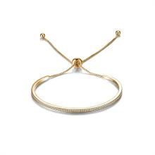 Bracelet ajustable à barre de manchette en or 14 carats plaqué or zircon