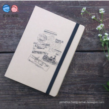Office Supply 36k Kraft Paper Moleskine Notebook with Elatic Band