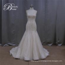 Романтичные бисером линии Свадебные платья