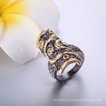 Großhandelsart und weiseschmucksache-Schwarz-gepflanzter Ring-Frauen-langer Gold und schwarzer Ring-preiswerter Preis