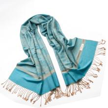 Moda reversible viscosa de colores pashmina mantón Paisley Jaquard bufanda mujer