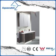 Vanité de salle de bain en chocolat avec bassin en céramique en blanc (ACF8936)