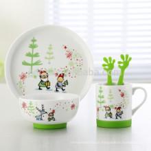 Satz von 5 Cartoon-Design Keramik Kinder Abendessen Set mit rutschfesten Silikon-Basis