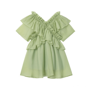 Wanita Chiffon Ruffles Mint Dress