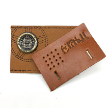 Custom Pu Jeans Logo Printed Metal Embossed Leather Patch For Garment
