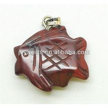 Forma de peixe Jasper vermelho Pingente