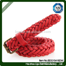Vente en gros Lady Sexy Red Handmade Real Leather Pin Buckle Braided Bracelet