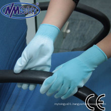 Nmsafety Blue Polyester Coated PU Household Electrical Work Glove