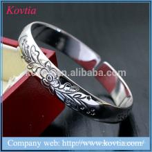 Bracelete de prata liso, bracelete aberto da flor, bracelete mais atrasado da jóia da voga do projeto 2015